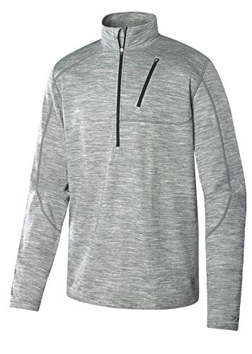 Terramar Men's Thermawool Merino Wool Half Zip Pullover Jacket, Light Heather Grey, XX-Large (50
