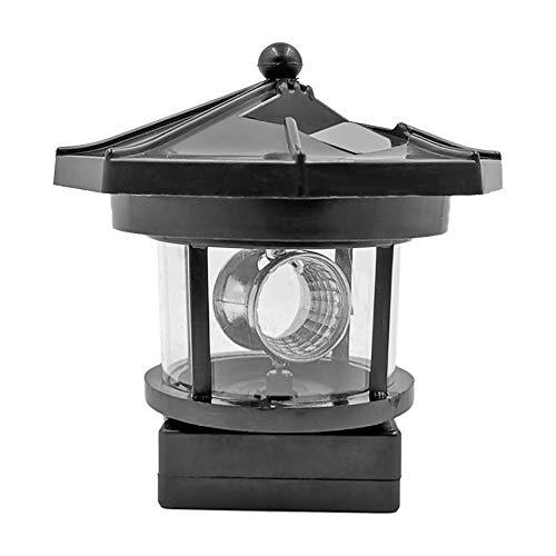 Domybest Leuchtturm Form Solar LED Licht Garten Solarleuchten Zaun Hof Deko Smart Sensor Lampe Beleuchtung Rotation Lampe Nachtlicht (Schwarz)