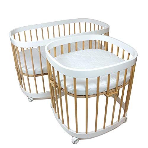 tweeto Babybett Kinderbett Baby 7-in-1 KOMPLETT-SET - multifunktional erweiterbar inkl. 3-tlg. Matratze Design (Buche-Weiss)