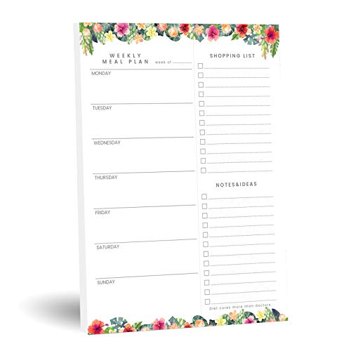 TSFPapier weekly planners Magnetic Meal Undated Planning Pad for Fridge Tear-Off Grocery Shopping List - Flower