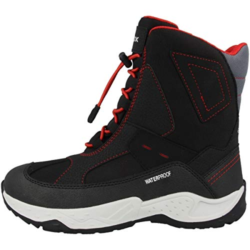 Geox Jungen Boots SENTIERO Boy WPF, Kinder Snowboots,lose Einlage,wasserdicht, verspielt detailreich Freizeit Canadians,Black/RED,28 EU / 10 UK Child