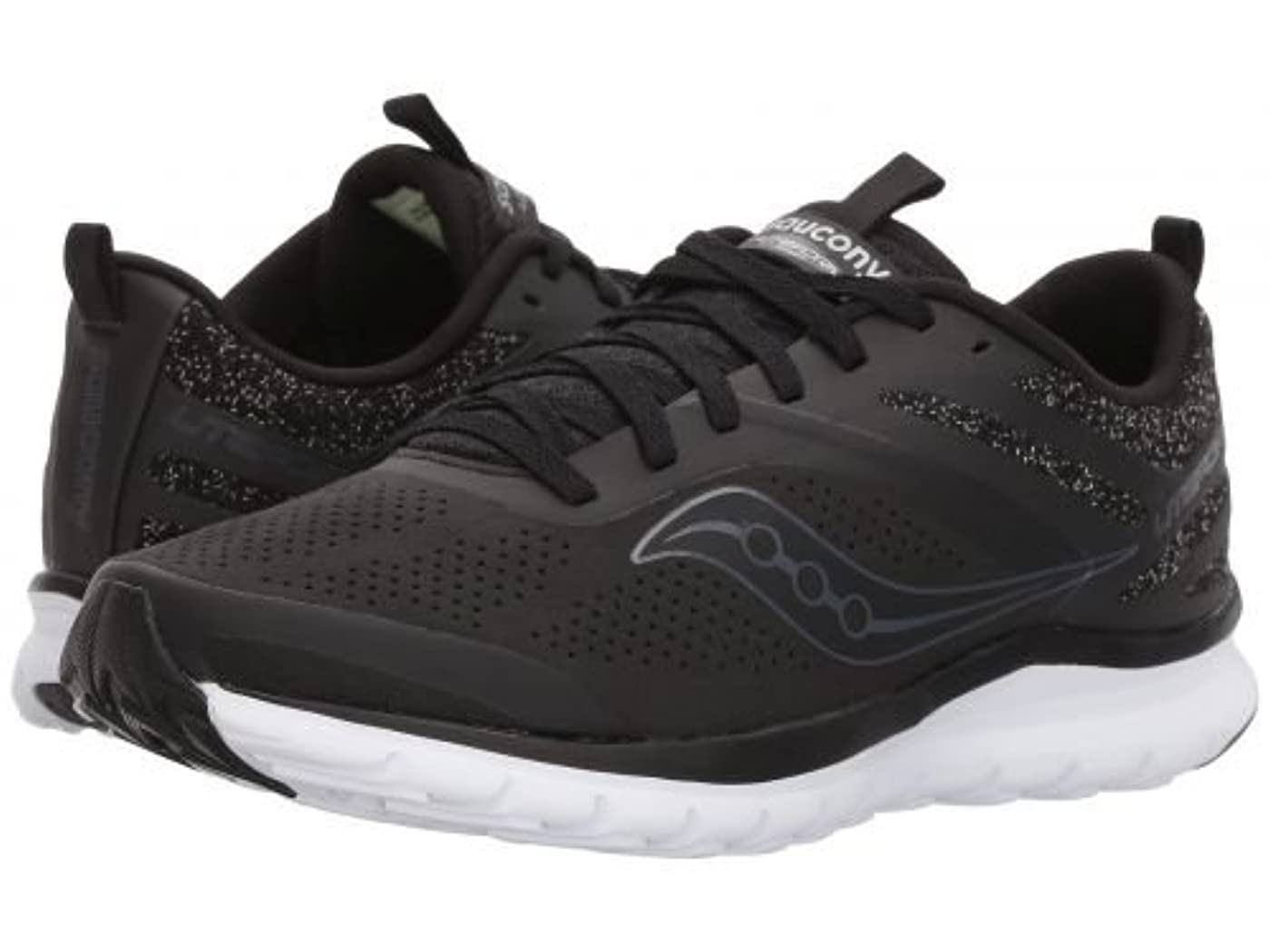 横丁寧ペインSaucony(サッカニー) レディース 女性用 シューズ 靴 スニーカー 運動靴 Liteform Miles - Black (Perf Suede) [並行輸入品]