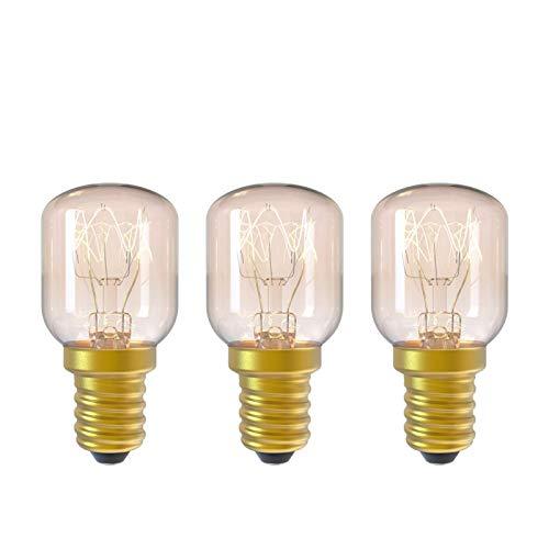 E14 15 W Glühlampe, 2300 K, dimmbar, Sockel E14, hitzebeständig bis 300 °C, Licht für Backofen / Salzlampe / Mikrowelle / Kühlschrank, Abstrahlwinkel 360 °, 3 Stück