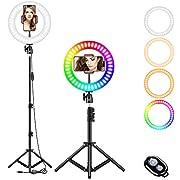 LAVKOW 10 Zoll RGB Selfie-Ringlicht, LED-Ringlicht 3200–6500 K, mit Stativ und Handy-Halterung für Live-Stream/Make-Up/YouTube/TikTok/Fotografie/Videoaufnahmen/Zoom-Meeting