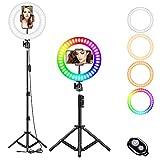 LAVKOW 10 Zoll RGB Selfie-Ringlicht, LED-Ringlicht 3200–6500 K, mit...