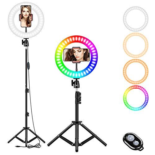 LAVKOW 10 Zoll RGB Selfie-Ringlicht, LED-Ringlicht 3200–6500 K, mit Stativ und Handy-Halterung für...
