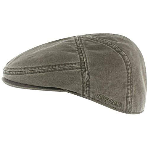 Stetson Stetson Paradise Cotton Schirmmütze Oliv-grün Herren - Flatcap mit UV-Schutz 40+ - Herrenmütze aus Baumwolle - Flat Cap Größen M 56-57 cm - Schiebermütze Sommer/Winter