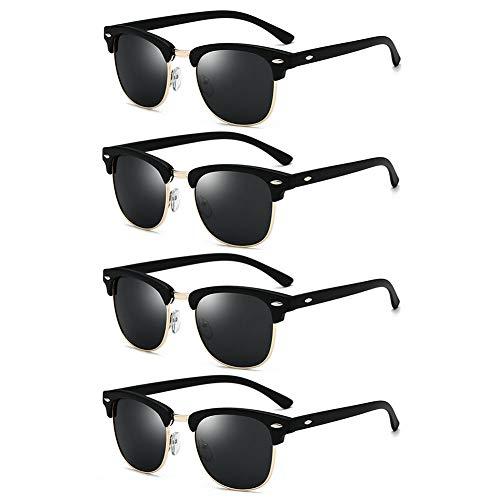 LVYY 4 paar retro zonnebril heren dames gepolariseerde glazen anti-UV Trendy Mi Nail Black Black frame/Black Gray Lens
