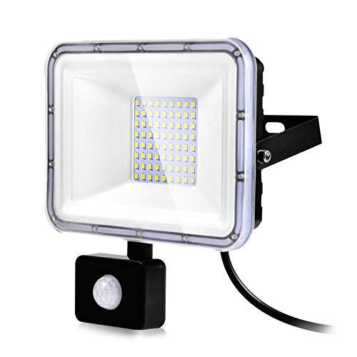 50W Foco LED con Sensor de Movimiento, Proyector LED Exterior Super Brillante 6500K Blanco Frío Impermeable IP67 Floodlights Iluminación LED Detector para Jardín, Patio, Garaje