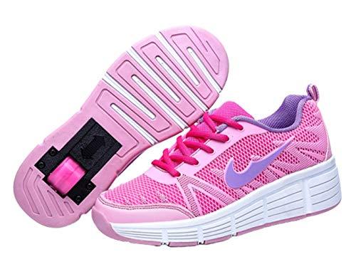 Mädchen Jungen Skateboard Schuhe mit 1Rollen&2 Rollen Kinderschuhe mit Rollen Skate Shoes Sportschuhe Laufschuhe Sneakers für Unisex Kinder