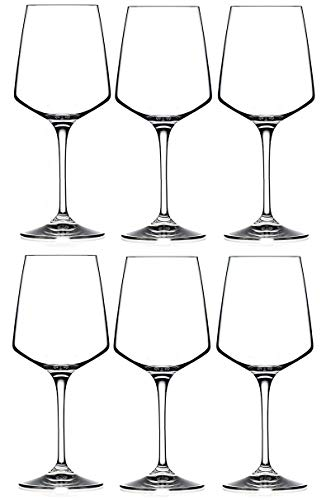 RCR Cristalleria Italiana Aria Collection - Set di 6 bicchieri da vino in cristallo (vino bianco (439,4 ml)