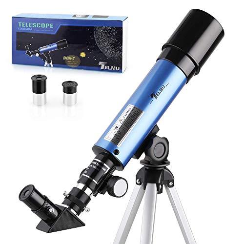 TELMU Astronomisches Teleskop Lichtteleskop zoom Tragbarer Refraktor mit Stativ Kinder Telescope mit 45 grad Diagonalspiegel kann Bilder korrigieren,Anf?nger Sieh den Mond und die Sterne als Geschenk
