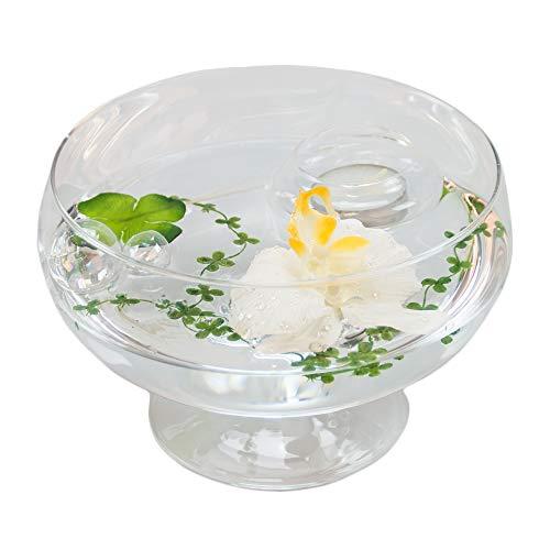 Ronde verre-bol roxy 75 hauteur : 11 cm diamètre : 17 cm-plat en verre sur pied avec orchidée déco décoration de glaskönig bol blanc