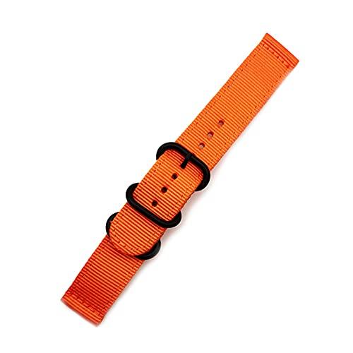 NATO correa de nylon Correa Negro hebilla del anillo 18mm-24mm Reemplazo de rayas banda de reloj, 20mm