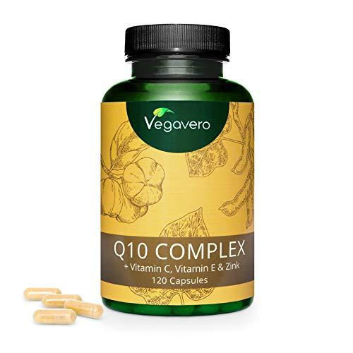 Coenzyme Q10 Ubiquinone Vegavero® | Origine Naturelle | La Seule Enrichie en Vitamine C, Vitamine E et Zinc | 120 Gélules | Puissant Antioxydant + Anti-Âge | Sans additifs | VEGAN