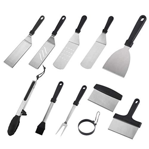 LIZHILIAN 11 unids acero inoxidable barbacoa herramientas conjunto barbacoa parrilla utensilios accesorios camping al aire libre cocina kit