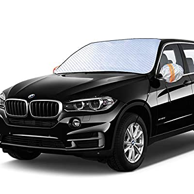 GLANDU Upgraded Windshield Snow Cover, Car Window Cover Ice and Snow Cover for Car with 4 Strong Magnets Edge & 4 Layer Material Protection, Large Size Suitable for Most Cars and SUV (73.6