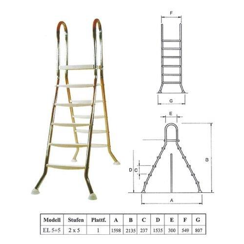 Escalera piscina de acero inoxidable escalera 5 + 5 para platillos hasta 1,35 m: Amazon.es: Jardín