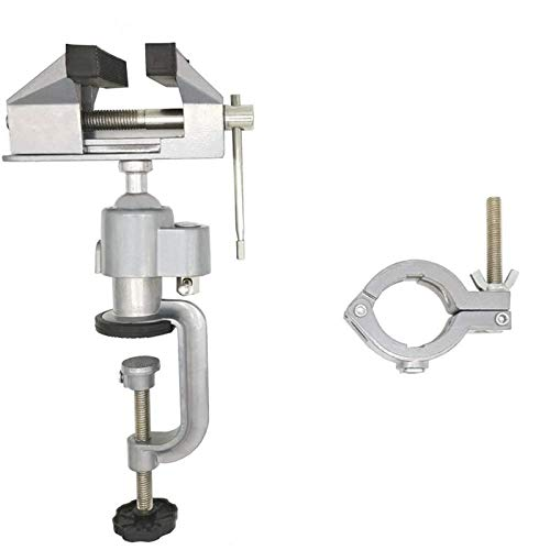 Gesh 2In1 Table Vise Bench Vice 360 Degree Aluminum Alloy Swivel Rotating Clamp for Electric Drill Stent Grinder Tools Holder
