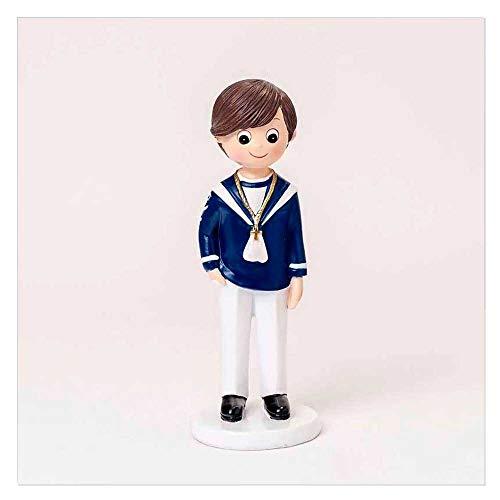 Figura para tarta Primera Comunión niño marinero camisa en marino