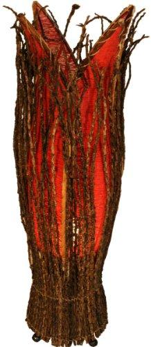 Guru-Shop Tischlampe/Tischleuchte `Flores`, in Bali Handgemacht aus Naturmaterial, Rot, Kokosfaser, Farbe: Rot, 70x20x20 cm, Tischlampen aus Naturmaterialien