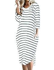 CNFIO -Robe t-shirt grande taille pour femme, style bohème à