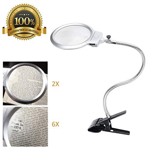 Rightwell - Lupa 2X - 6X con luz y pinza lentes de gran aumento, clip lupa electronica de mesa, plateado