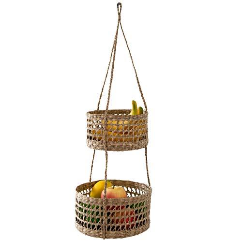 Cestas redondas tejidas a mano para colgar en la pared para almacenamiento y soporte para macetas,natural mimbre de sauce marino y cesta para colgar en la pared maceta para el hogar y el jardín
