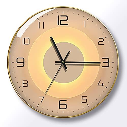 WANGFENG Reloj de Cuarzo con Personalidad de Celebridad Neta, Reloj de Pared de Lujo con luz Simple, Reloj con luz y Sombra, Reloj de Pared silencioso para Sala de Estar