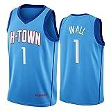 CNMDG Wall - Camiseta de baloncesto para hombre y mujer, color azul Rockets 1# 2021 New Swingman Blue City Edition camiseta de baloncesto para jóvenes (S-XXL) L