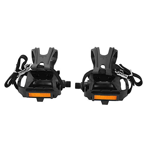 Yosoo Health Gear Bike Pedal with Toe Clips and Straps, 1 Pair Nylon Cycling Pedals Platform Pedals for Fixed Mountain Bikes Accessories