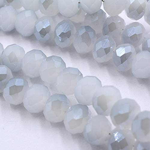 PINGGUO 4Mm/6Mm/8Mm Blanco Jades-Azul Luz Cristal Rondelle Perlas Rueda Perlas de Vidrio Facetado Para La Fabricación De Joyería Diy Accesorios De Joyería
