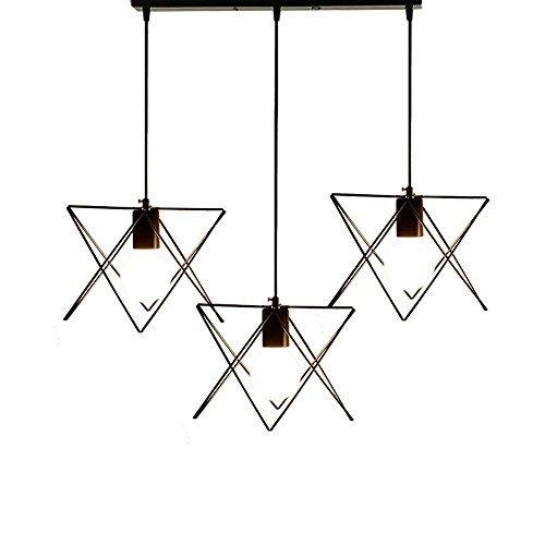 MKKM Candelabro, moderno, industrial, retro, colgante, candelabro, metal, loft, sala de estar, barra, luz de techo, base 3X E27 (negro), wshceilinglamp