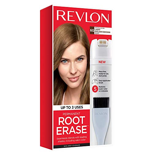Revlon Root Erase Permanent Hair Color, At-Home Root Touchup Hair Dye with Applicator Brush for Multiple Use, 100% Gray Coverage, Light Golden Brown (6G), 3.2 oz