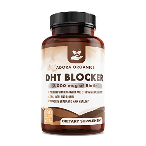 Adora Organics DHT Blocker - Promotes Hair Growth and Stress Management - 2000mcg of Biotin with Zinc - Iron - Ashwagandha - Gingko Biloba - Saw Palmetto - Burdock Root - Green Tea - 180 Capsules