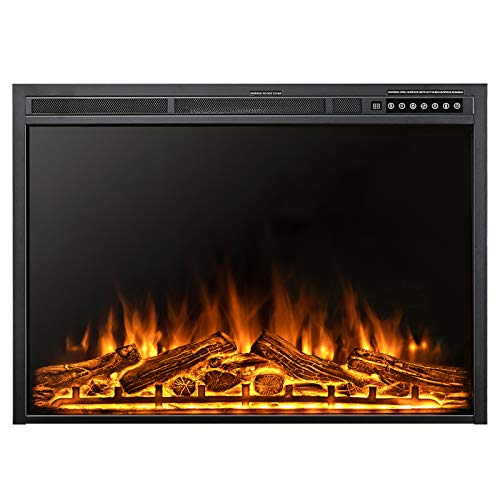 Xbeauty 37 Inch Electric Fireplace Insert, Infrared Electric Fireplace, Three 3D Color with Log and Flame, Indoor Heater with Timer&Remot Control, Adjustable Flame Speed, Touch Screen, 750W/1500W