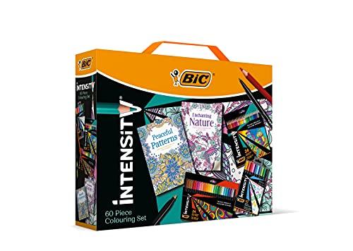 BIC Intensity Stifte Set: 24 Buntstifte, 24 Filzstifte, 10 Fineliner und 2 Achtsamkeit Malbücher für Erwachsene & Teenager
