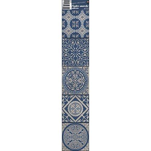 Plage Vinilos para Escaleras-Azulejos Antiguos Patras, Azul, 19x3x100 cm, 3 Unidades