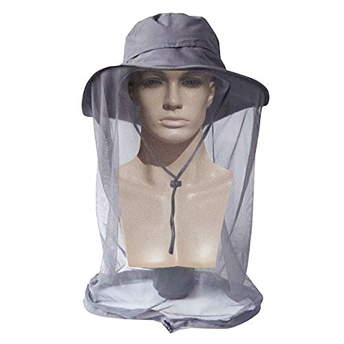 Mosquito Head Net Hat for Men Women, AYAMAYA Wide Brim Sun Protection Hats with Face Neck Cover Head Cover Netting Protection from Insect Bug Bee Gnats Bucket Hat Cap for Fishing Camping Gardening