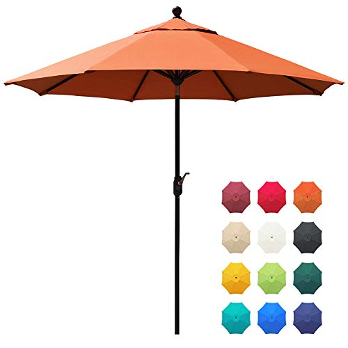 EliteShade Sunbrella 9Ft Market Umbrella Patio Outdoor Table Umbrella with Ventilation and 5 Years Non-Fading Top,Rust