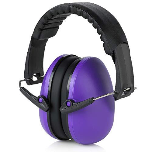 Gehoorbescherming en geluidsreducerende oorkappen - Lichtgewicht, verstelbaar en opvouwbaar NRR 20dB Veiligheidshoorbescherming voor schieten, zwaar machinaal werk en jagen Geschikt voor volwassenen en kinderen, paars