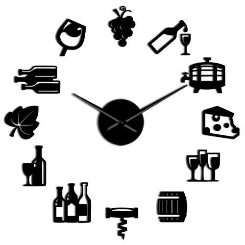 mazhant Reloj de Pared silencioso Gigante DIY sin Marco Moderno de Queso y Vino, Signo de Barra de Pub, Bebida alcohólica, Tornillo de Corcho, Reloj de Pared decorativo-27inch