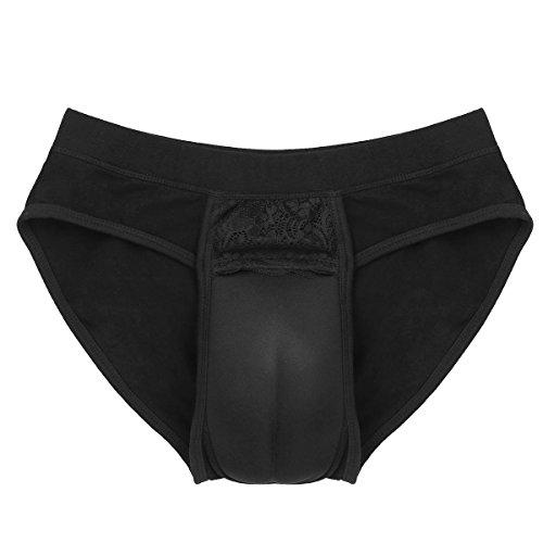 TiaoBug Mens Hiding Gaff Panty Shaper Pant Briefs Underwear for Crossdressing Transgender Black Medium