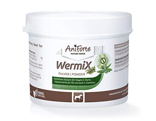AniForte WermiX Pulver für Pferde und Ponys 50g - Naturprodukt vor, während und nach Wurmbefall mit Saponine, Bitterstoffe, Gerbstoffe, Wermut, Naturkräuter harmonisieren Magen & Darm