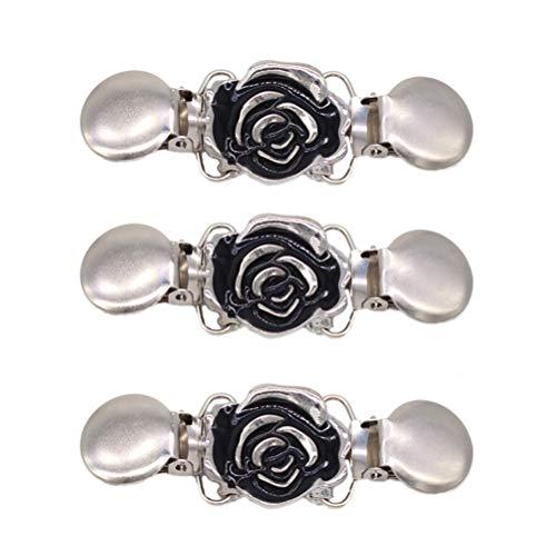 FENICAL Clips de ropa Forma de flor Clips de mantón T-shirt Clips de apertura Suéter Cadena Cardigan Clips para mujeres niñas 3PCS (Plata)