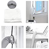 Fine Universal Window Seal for Portable Air Conditioner and Tumble Dryer -Easy to Install - Air Exchange Guards with Zip and Adhesive Fastener (Silver)