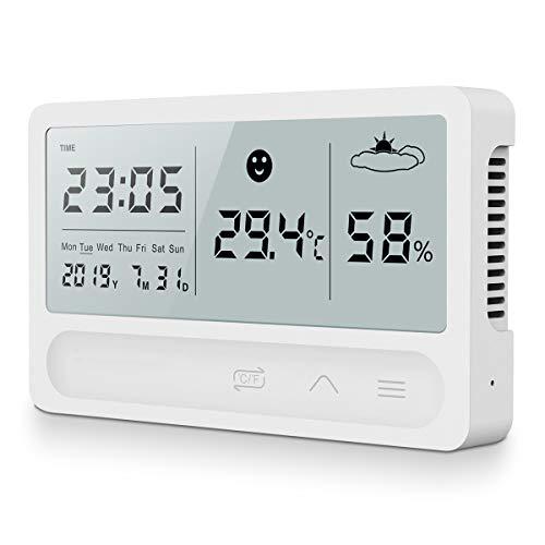 AngLink Digitales Thermo-Hygrometer Innen, 16:9 LCD Breitbild Monitor Tragbares Hygrometer Thermometer mit Klappständer Zeit und Wecker, 2 Sekunden Schnelle Erkennung und DREI-Berührung-Bedienung
