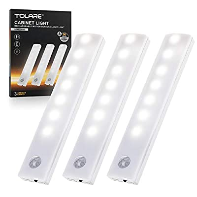 Rechargeable LED Under Cabinet Lighting, Tolare Closet Lights Motion sensored - Indoor Stick On Lights Wireless Under Counter Lights for Kitchen, Stairs, Wardrobe, Hallway,3 Pack