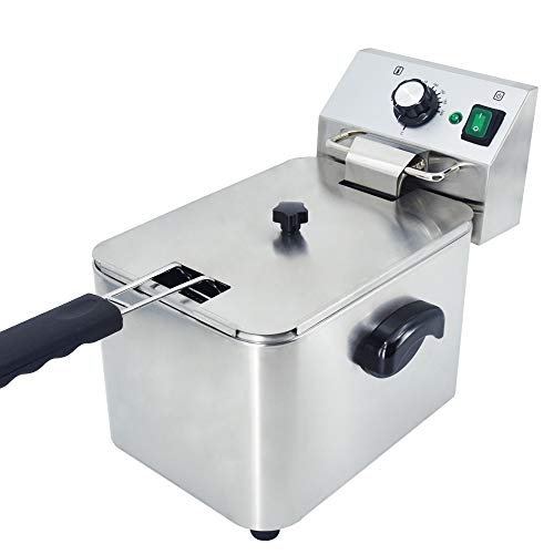 TAIMIKO Electric Deep Fryer with Temperature Control All Stainless Steel Single Tank for Restaurant Home Kitchen (4L 2500W)