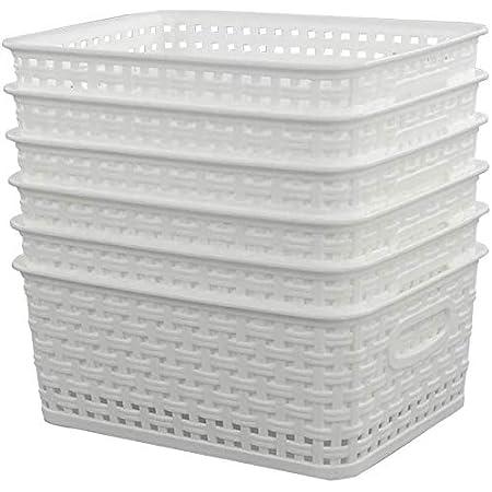Farmoon Lot de 6 paniers de rangement tissés en plastique blanc